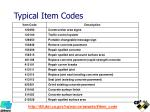typical item codes
