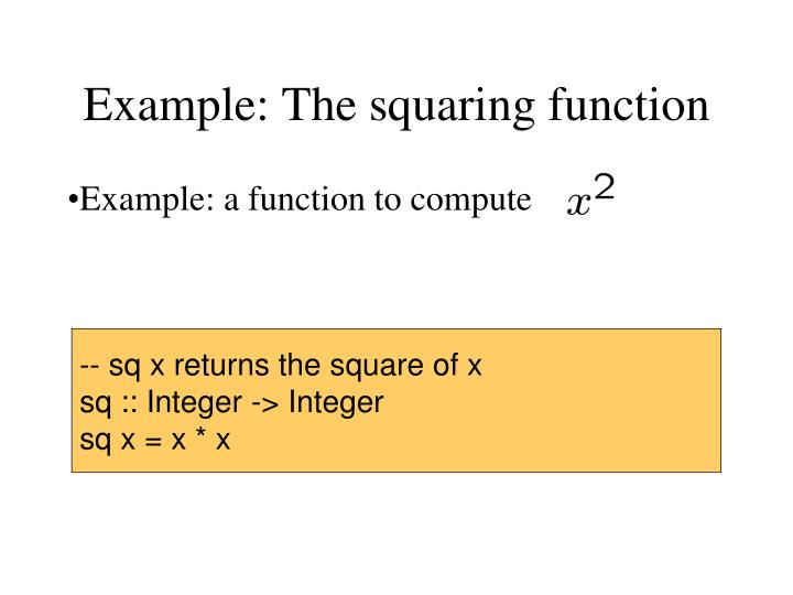 Example: The squaring function