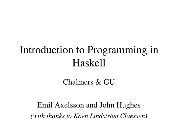 introduction to programming in haskell n.