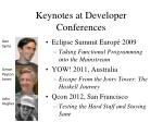 keynotes at developer conferences