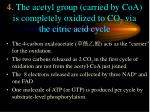 4 the acetyl group carried by coa is completely oxidized to co 2 via the citric acid cycle