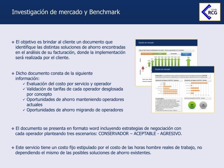 Investigación de mercado y Benchmark