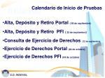 calendario de inicio de pruebas