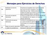 mensajes para ejercicios de derechos