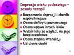 depresja wieku podesz ego zasady terapii