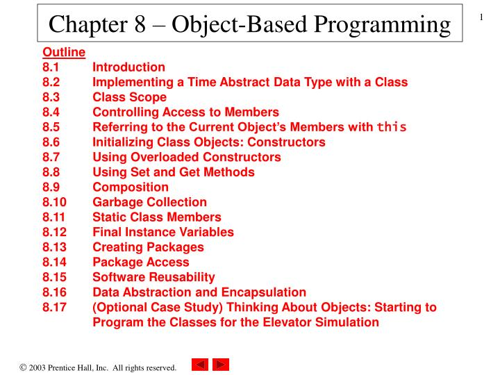 chapter 8 object based programming n.