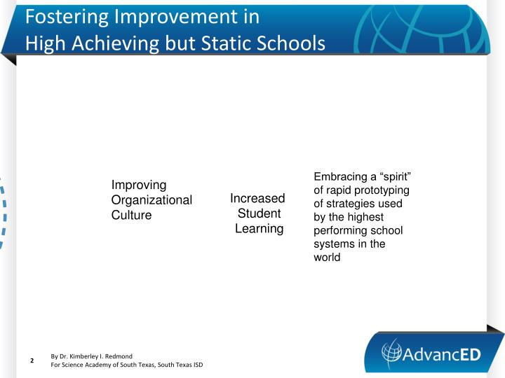 Fostering improvement in high achieving but static schools1