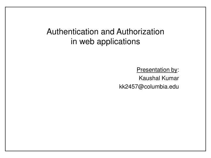 authentication and authorization in web applications n.