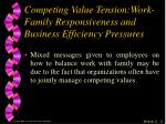 competing value tension work family responsiveness and business efficiency pressures