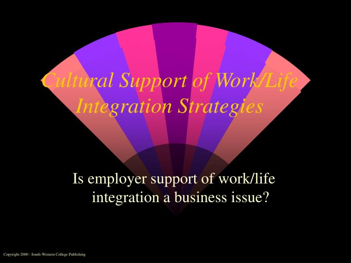 cultural support of work life integration strategies n.