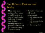 gap between rhetoric and reality