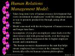 human relations management model