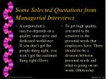 some selected quotations from managerial interviews