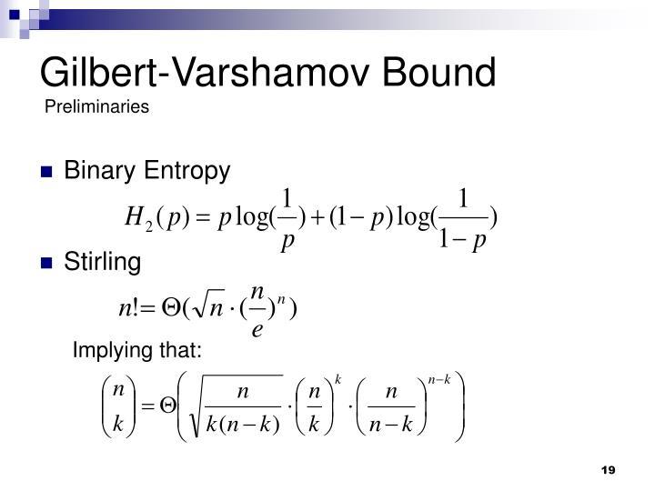 Gilbert-Varshamov Bound