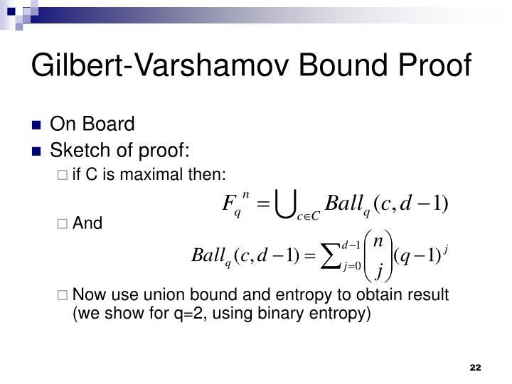 Gilbert-Varshamov Bound Proof