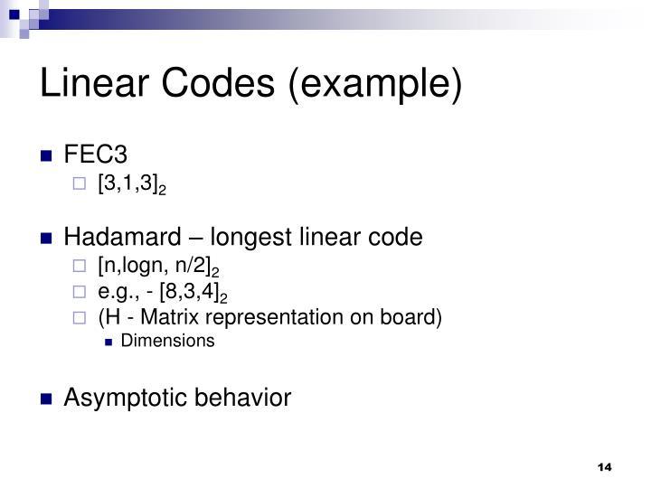 Linear Codes (example)