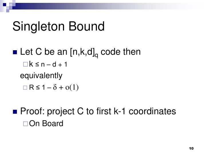 Singleton Bound