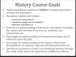 history course goals