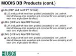 modis db products cont