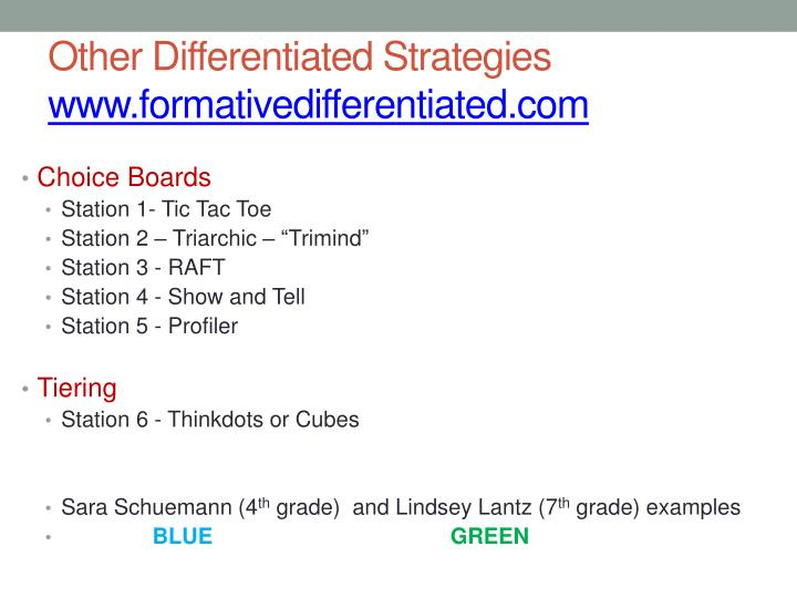 Other differentiated strategies www formativedifferentiated com