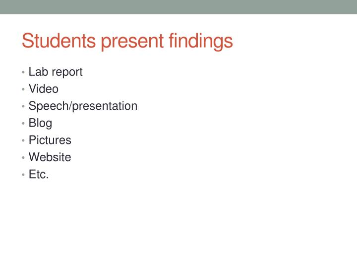 Students present findings