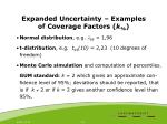 expanded uncertainty examples of coverage factors k
