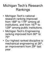 michigan tech s research rankings