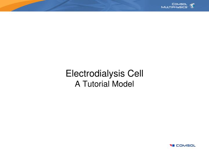 electrodialysis cell a tutorial model n.