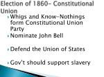 election of 1860 constitutional union