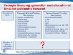 example financing generation and allocation of funds for sustainable transport