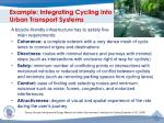 example integrating cycling into urban transport systems