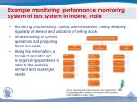 example monitoring performance monitoring system of bus system in indore india