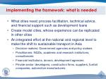implementing the framework what is needed