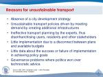 reasons for unsustainable transport