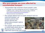 why poor people are more affected by unsustainable transport