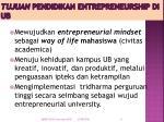tujuan pendidikan entrepreneurship di ub