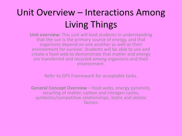 unit overview interactions among living things n.