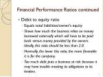 financial performance ratios continued1