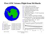 first atic science flight from mcmurdo