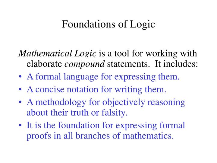 foundations of logic n.