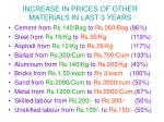 increase in prices of other materials in last 3 years