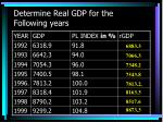 determine real gdp for the following years