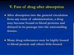 v fate of drug after absorption