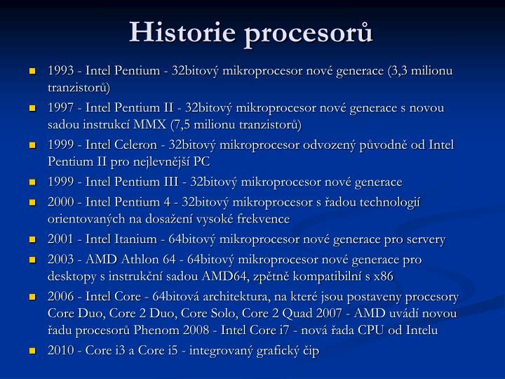 Historie procesorů
