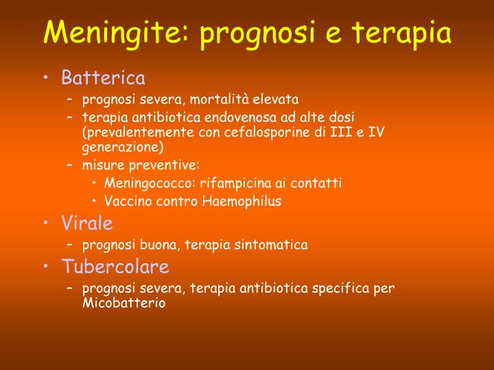 Meningite: prognosi e terapia