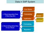 data in sap system