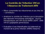 le contr le de l infection vih en l absence de traitement arv