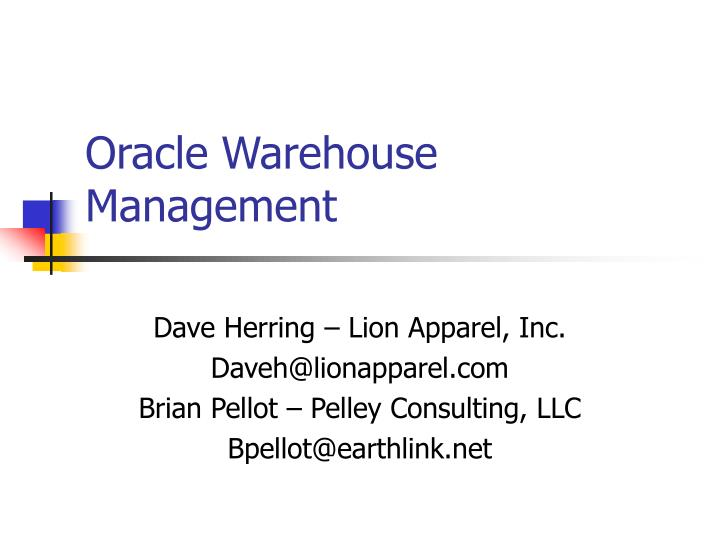 oracle warehouse management n.