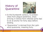history of quarantine