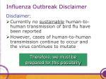 influenza outbreak disclaimer